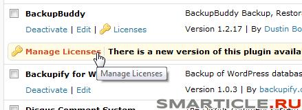 BackupBuddy - управление лицензиями