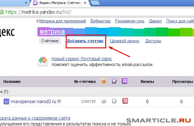 Заходим на сайт Яндекс Метрики