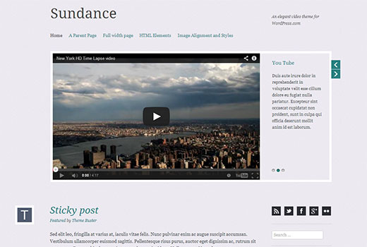 automattic sundance - простой видео шаблона для wordpress