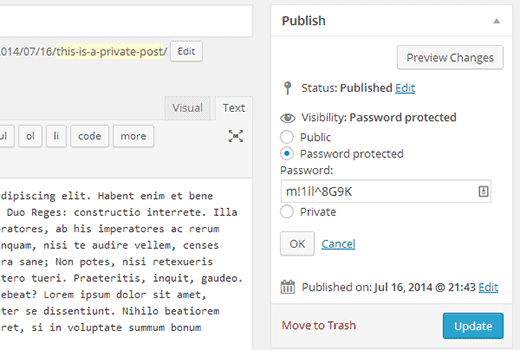 скрытие записи wordpress паролем