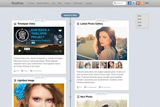 themify postline - оригинальный видео шаблон на WordPress