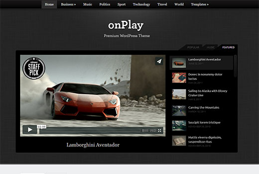 wpzoom-onplay видео шаблон на WordPress