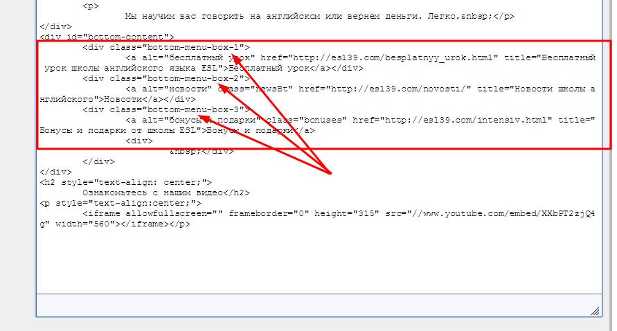 вставляем код в текст на странице
