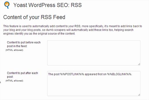 Транслирование RSS ленты в seo Yoast