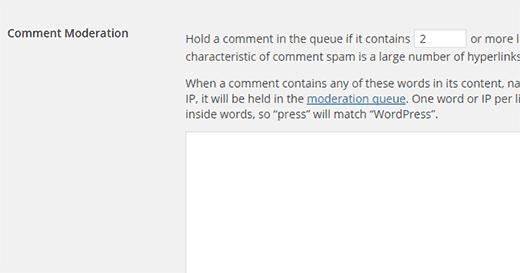 Настройки модерации комментария