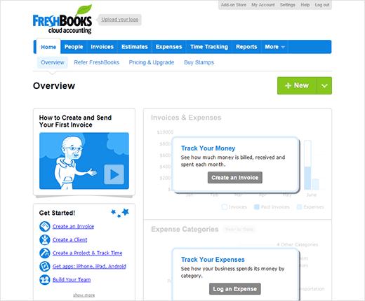 панель управления Freshbooks