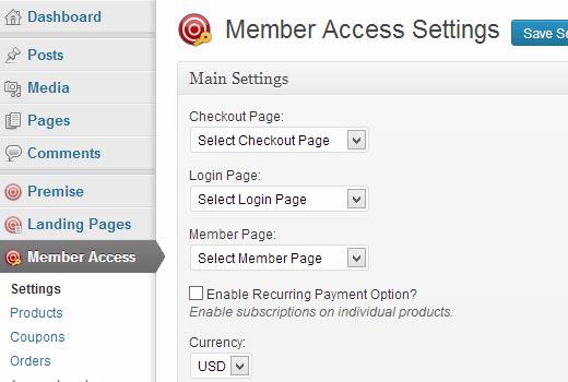 Настройки членского доступа
