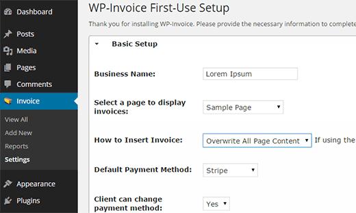 wp invoice настройки