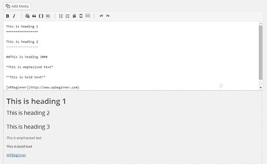 wp markdown редактор