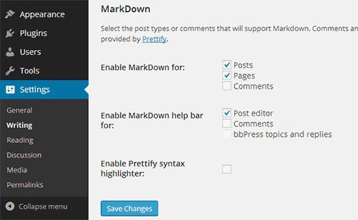 wp markdown плагин для разметки