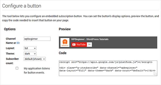 Настройка кнопки подписаться на канал Youtube
