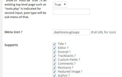 Добавление иконки wordpress в CPT UI