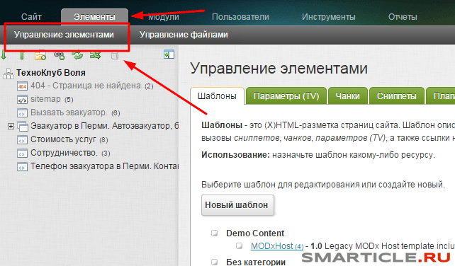 Управление элементами для вставки Метрики Яндекса