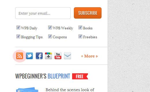 форма для подписки RSS на новости