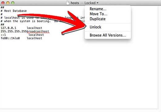 разблокировка файла hosts на Mac