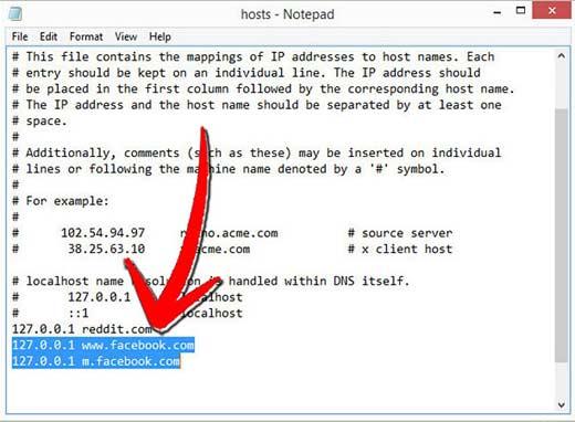 Указываем названия доменов для блокировки с новой строки