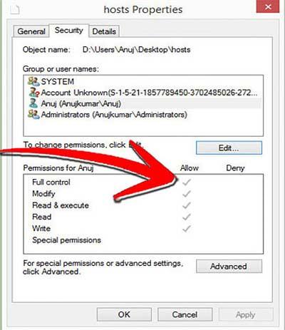 Права доступа на редактирование файла hosts