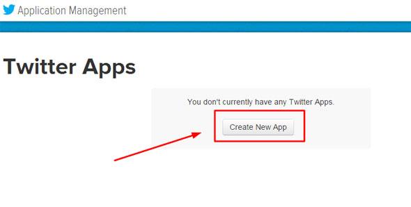 Создание нового Twitter Apps для получения ключа