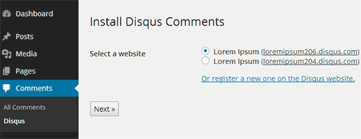 Выбор сайта для размещения комментариев Disqus