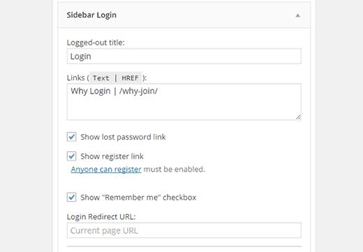 Настройки формы регистрации в виджете