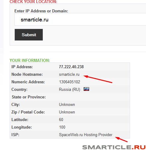 Информация по домену и Ip адрес