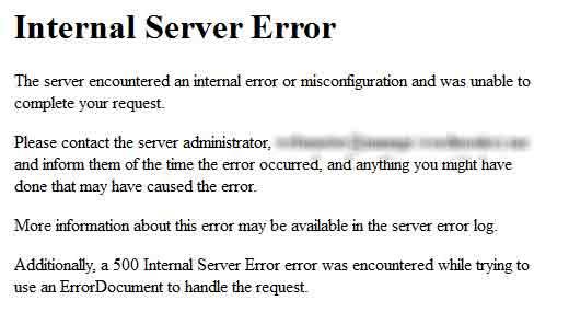 странные внутренние ошибки сервера
