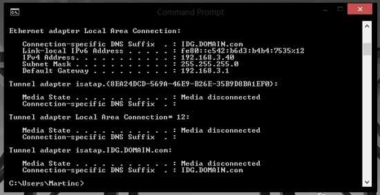 Получение IP адреса компьютера и маршрутизатора