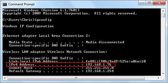 Дополнительный пример получения IP на Windows