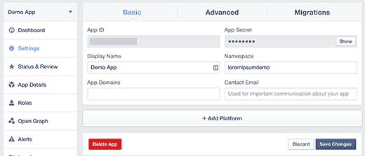 Настройки платформы приложения
