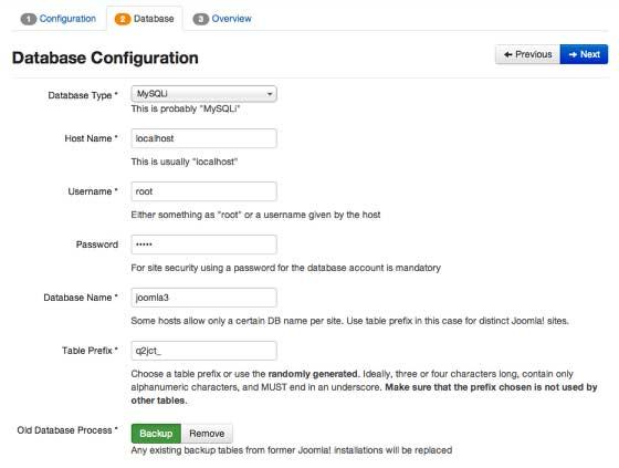 Настройка конфигураций базы данных