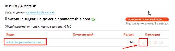 Редактирование электронного ящика на новом домене