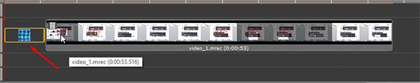 Перетаскиваем эффект Перехода в начало видео ролика
