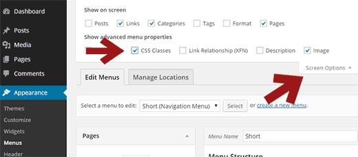 Включаем CSS классы в настройках экрана