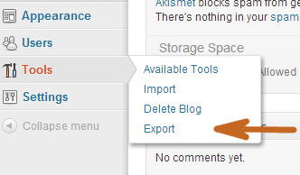 Вкладка экспорт файлов блога, раздел Инструменты
