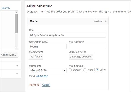 Добавления изображений в качестве иконок в структуре меню в админке WordPress