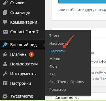 Переходим во вкладку виджеты админ панели блога WordPress