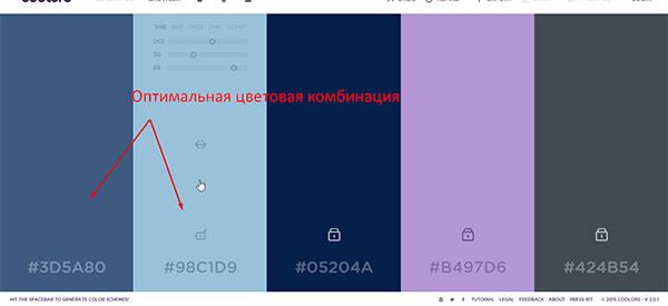 Подбор цвета - цветовые комбинации для сайта