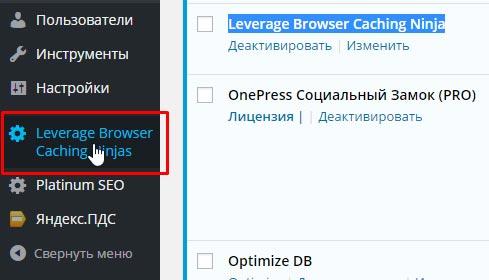 Плагин кэширования браузера Leverage Browser Caching Ninja