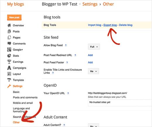 Экспорт блога блоггер