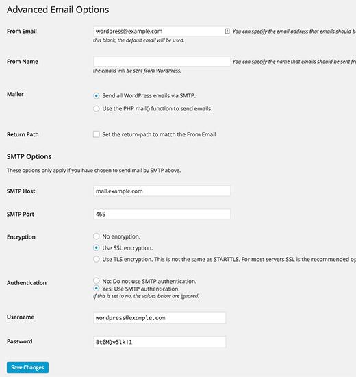 WP Mail SMTP опции настройки email