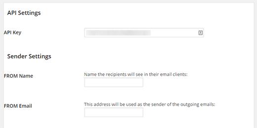Указываем имя отправителя и активный почтовый ящик