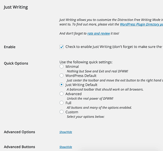 Установка и активация плагина Just Writing
