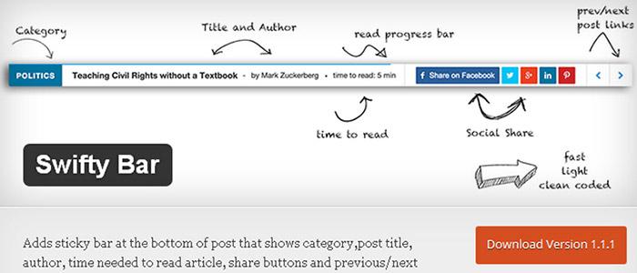 Swiftybar - делаем прилипающий футер с записью Wordpress