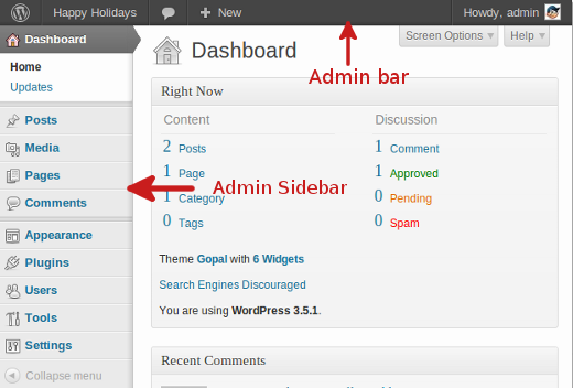 Экран администрирования блога