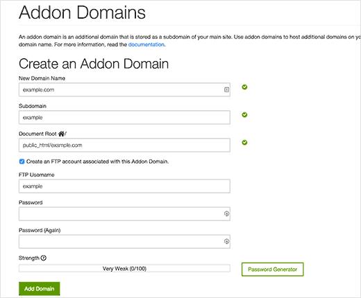 Вводим доменное имя для сайта и указываем корневую папку