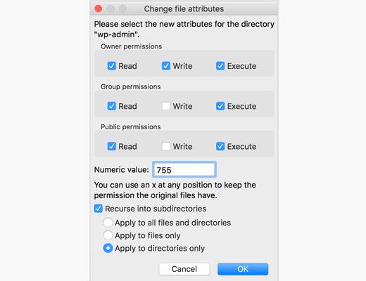 Смена прав доступа на файлы и папки