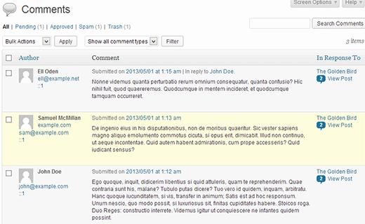 Экран отображения комментариев WordPress