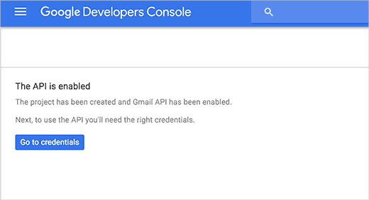 Активация API Gmail через панель разработчика Google