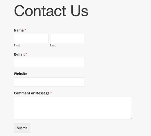 Предпросмотр контактной формы на сайте WordPress
