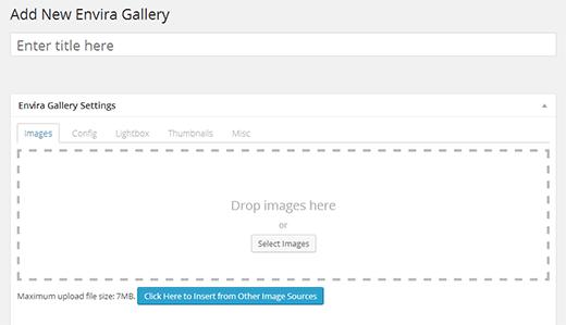 Добавляем новую галерею с помощью Envira Gallery